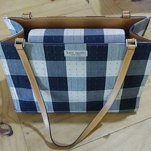 Kate Spade Bag Navy Blue/Gray Plaid w/Red Accent